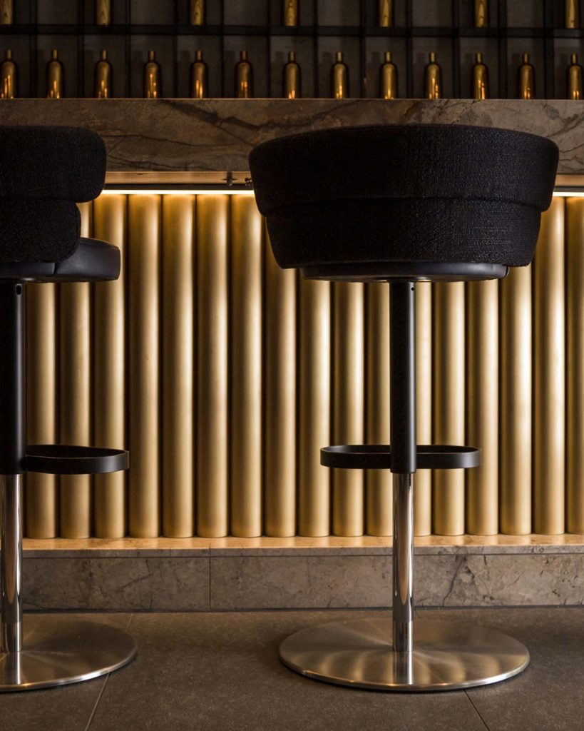 black elegant bar stools